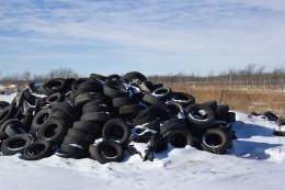 Landfill waste of tyres