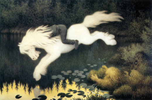 The 'Water Horse' or 'Kelpie' is said to gallop into deep water with it's victim on its back.