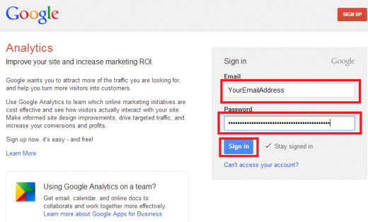 "Figure B: ""Sign in your Google Analytics account using your username and password"