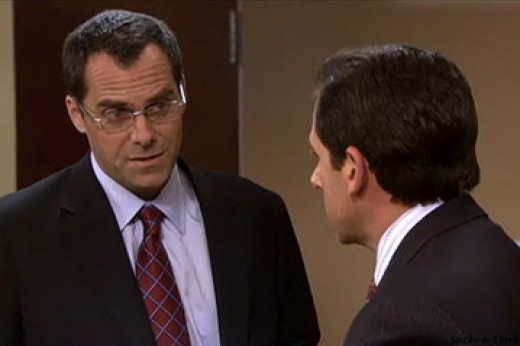 Andy Buckley, (left), as David Wallace, Michael Scott's Steve Carell's, (right), boss