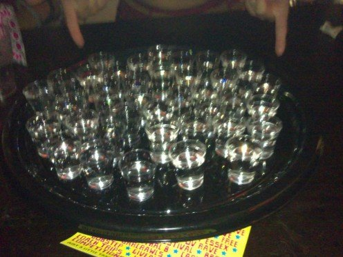 40 shots I bought during freshers week.