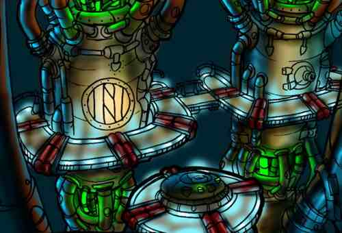 "Concept art for one of the final level themes, ""Piston it Away""."