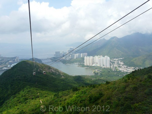 View of Tung Chung from the Ngong Ping 360 cable car, on Lantau Island, Hong Kong.