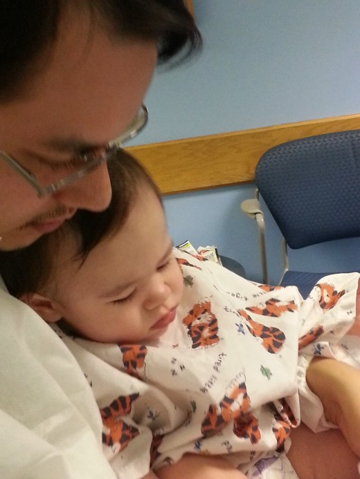 Daddy and baby bonding before surgery.