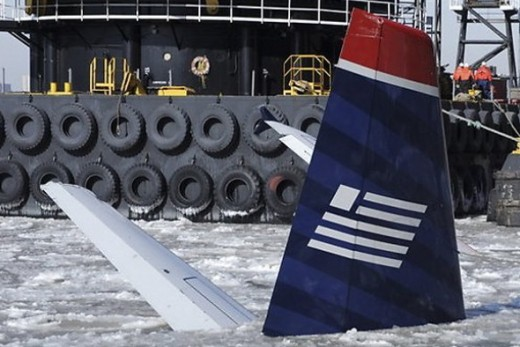 US Air 1549 tail in the ice