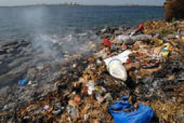 junk washing ashore along the coast
