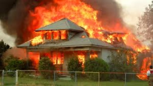 This timber house is burning fiercely, there is no way that this house could be saved now from the fire brigade now.