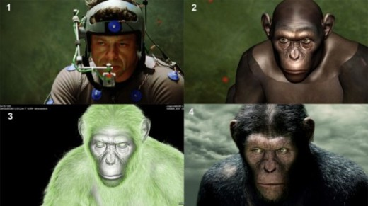 "Showing the process of visual effect transformation from human to ape, in the film, ""Plannet of the Apes"""