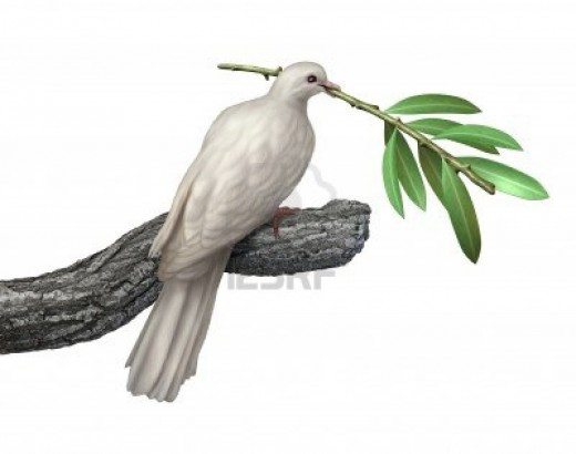 The dove carrying an olive branch has many meanings. A dove was apparently released from Noah's Ark. Olive Branches and white doves are both symbols of peace and hope.