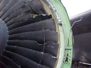 Damaged compressor blades