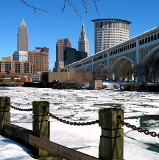 The Cuyahoga River in winter