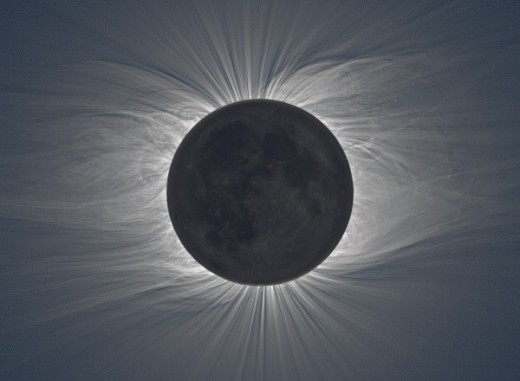 An actual photo of the moon and the sun's corona during an eclipse.