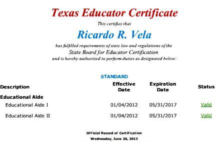 His only known background in education is Educational Aide I and II which he's held for just over a year.