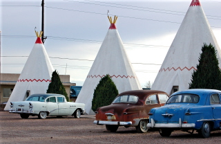 A funky old hotel (or motor court) on old Route 66