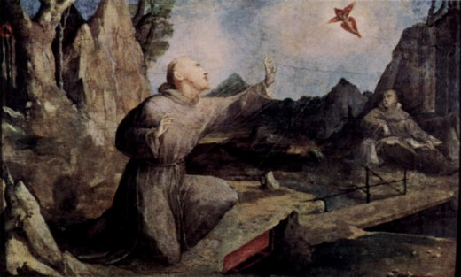 St. Francis on Mount Verna receiving the stigmata by Domenico di Pace Beccafumi