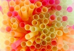 Drinking straws made of plastic