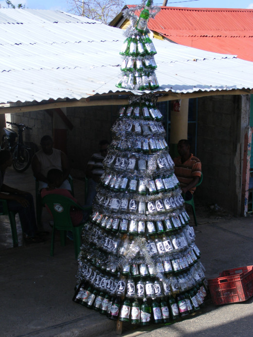 A Christmas tree made out of emtpy beer and rum bottles. Definitely not something I've ever seen before.