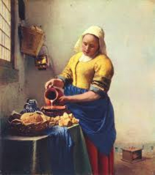 """The Milkmaid"" by Johannes Vermeer,  painted around 1657-58"