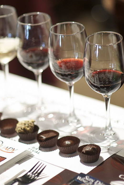 Red wine pairs well with chocolate