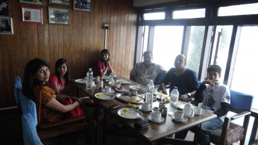 Our group - from left - Papori bow, Naina, Mumpi, Sarma Da, Apurba and Reet enoying breakfast in Tourist Lodge on Hill cart road of Kurseong