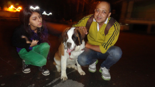 Apurba, Mumpi and the real show stopper the BEBE - a St Bernerd breed of dog in Chowrasta, Darjeeling