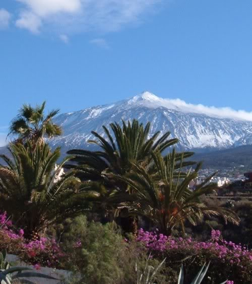 Snow on the peak of Mt Teide