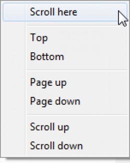 IE scroll bar contextual menu