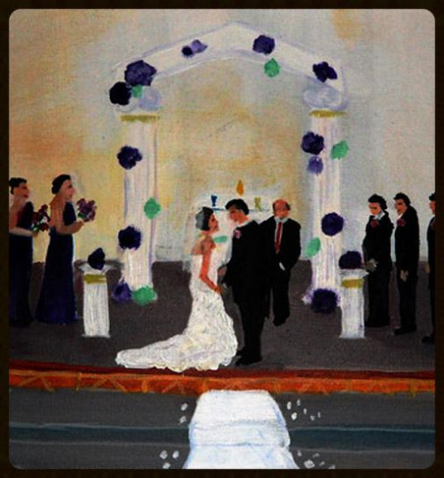 A wedding ceremony painted in Fresno, CA
