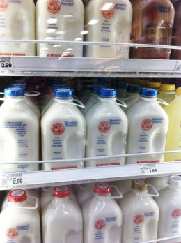 'Pasteurized only' milk sold in glass jugs is available in some markets.