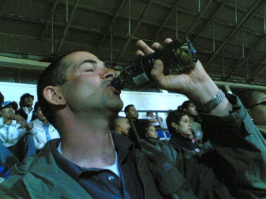Drinking whiskey straight from a water bottle. I never mixed my whiskey with any water, bottled or tap