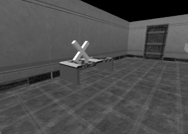 A virtual environment displayed geometric objects on a number of tables.