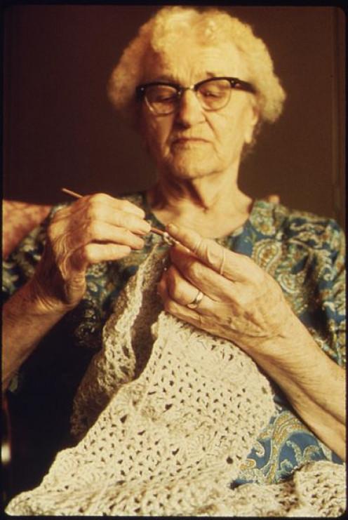 Woman Crocheting