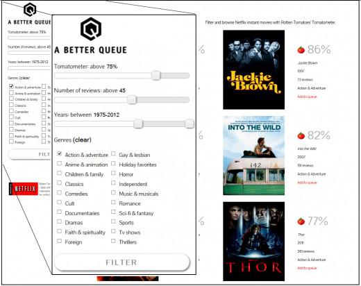 Edited screen capture of A Better Queue