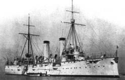 """WW1: The cruiser Akashi, Admiral Kozo Sato's flagship in the Mediterranean. 2,700 tons, 2 X 6"""" guns, 6 X 4.7"""" guns."""
