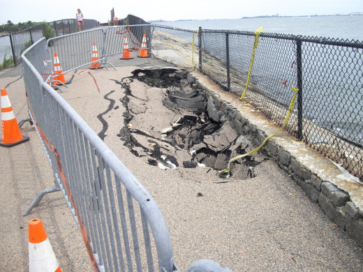 The beginning of the causeway is in rough shape