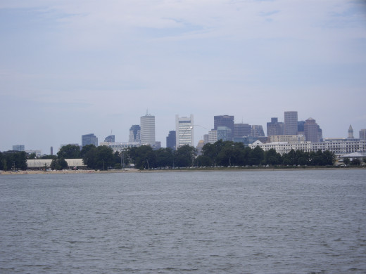 Looking back, I can see Boston's skyline