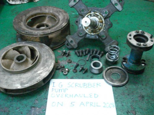 Dismantled Parts of a Centrifugal Pump with Mechanical Seal
