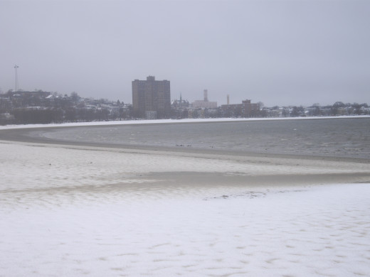 This is what Carson beach looks like on a Wintry day