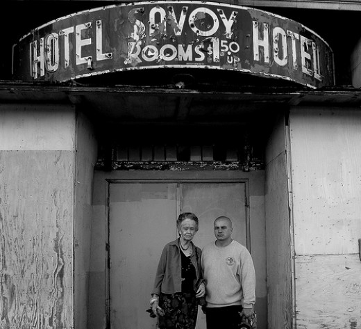 Lorraine Warren , and James Myers out side The Savoy Hotel , Majestic theater, and the Poli Palace theater Bridgeport Ct.