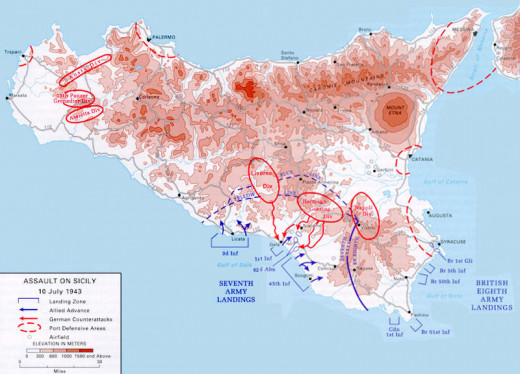 This is a map of the Allied army amphibious landing in Sicily, July 10th, 1943, as part of Operation Husky. It shows the deployments of the landing forces and the German and Italian formations defending the island.