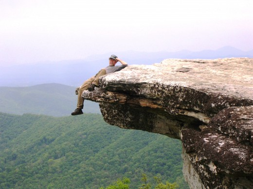 "In what is the most iconic photograph of the book, ""Apostle Paul"" is shown lounging off of McCafee Knob in Virginia."