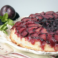 Plum and Blueberry Upside Down Cake