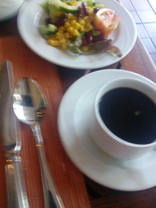 Coffee and salad for breakfast. nom.  3