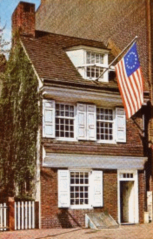 Renovated Betsy Ross House *note the wooden frame flag holder on the dormer window - an Okie creation