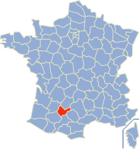 Map location of Tarn-et-Garonne department, in which Montauban is situated
