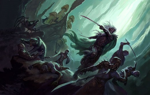 Drizzt fighting in the Underdark