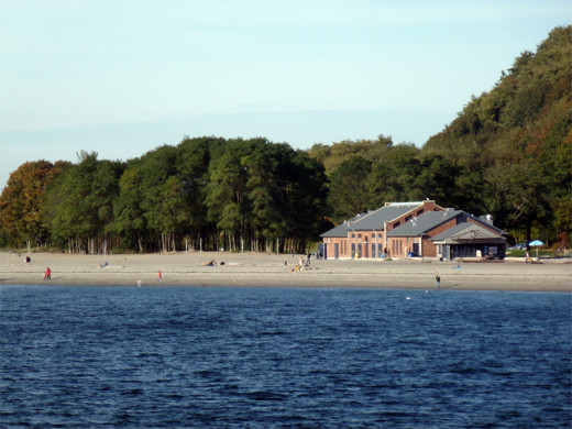 A view of the bathhouse at Golden Gardens, a popular Seattle park.