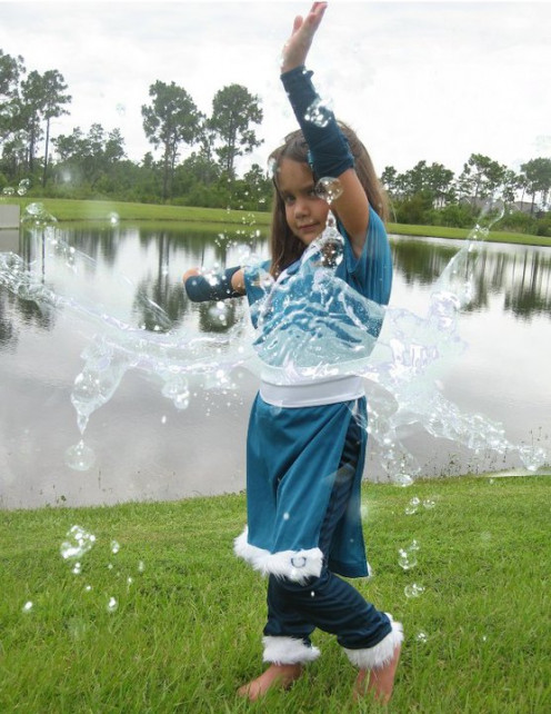 With a photo editing software, I was able to add the water making it look like my daughter was water bending like Katara from The Avatar, The Last Air Bender.