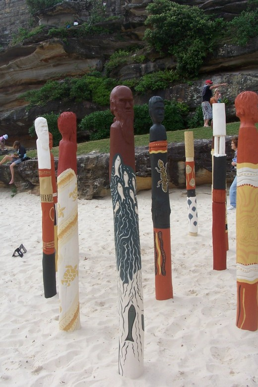 """will they see us"" by Ngardarb Francine Riches WA. Made from wood ochres, paint. According to the artist, her work represents early ancestors when they saw the arrival of the first fleet- ""will they see us?"""