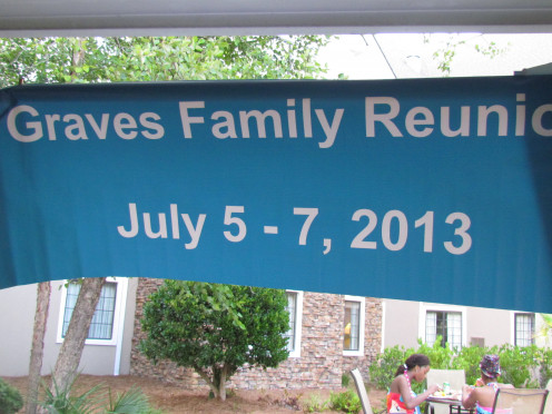 Photo of banner at the first event on Friday, which was a family barbeque around the pool of the Sonesta ES Suites, in Myrtle Beach, SC..